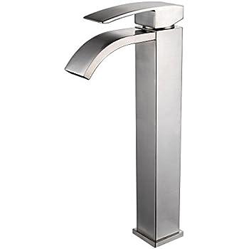 Wovier Brushed Nickel Waterfall Bathroom Sink Faucet