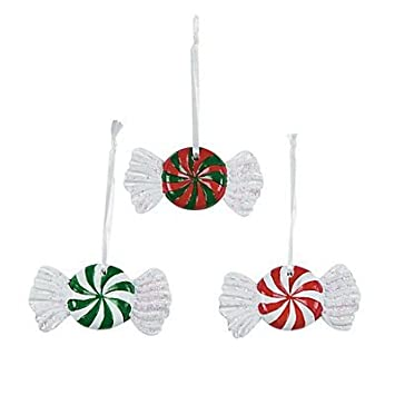 peppermint candy christmas tree ornaments 6 piece set - Peppermint Candy Christmas Ornaments