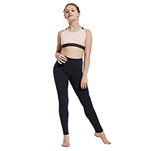 BALEAF Youth Girl's Athletic Dance Leggings Compression Pants Running Active Yoga Tights with Back Pocket