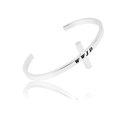 Wwjd Keychain - RUNXINTD WWJD Cross Jewelry Christian Bracelet Religious Hand Stamped Cuff Bangle Keychain (WWJD Cross-Silver)
