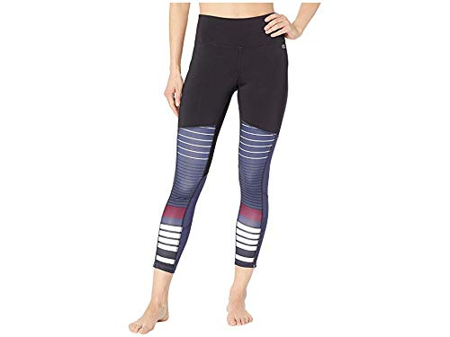 Champion Women's Fashion Tights 7/8 Novelty Blocking Black/Indigo Stripe X-Small 25