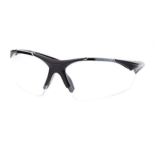 Mens Clear Lens Half Rim Sports Glasses with Bifocal Reading Lens - Glasses Men Sport Reading