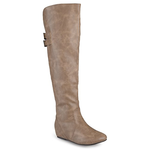 Journee Collection Womens Faux Leather Inside Pocket Buckle Detail Boots
