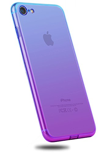 iPhone 8 Case,CLONG iPhone 7 8 Case Colorful Clear Slim Case Translucent Impact Resistant Protective Shell Flexible Soft TPU Bumper Cover for Apple iPhone 7/8 4.7 inch(Blue&Purple)