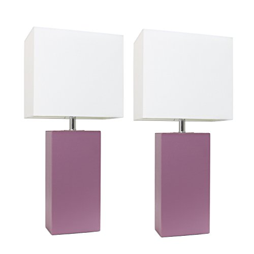 (Elegant Designs LC2000-PRP-2PK 2 Pack Modern Leather Table Lamps with White Fabric Shades 3.9
