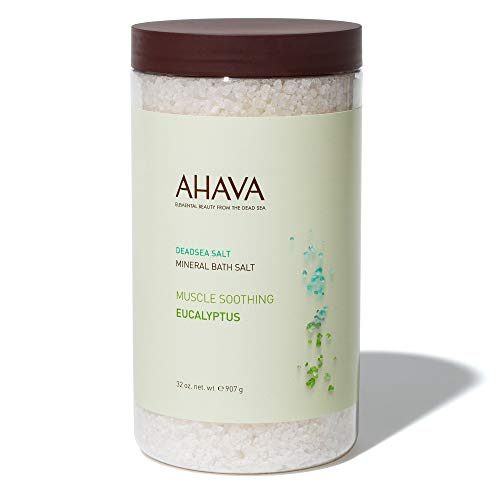 AHAVA 100% Pure Dead Sea Mineral Bath Salt, Muscle Soothing Eucalyptus
