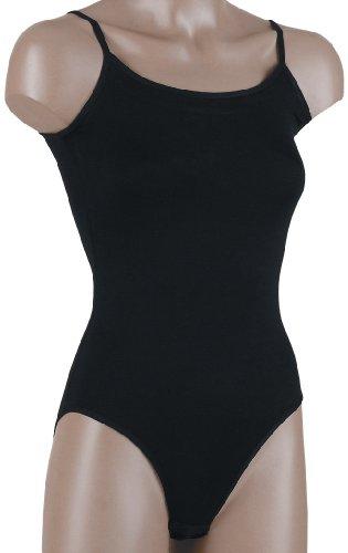 Mujer Body con tirantes para espaguetis, Unterhemd Pack de 2 negro