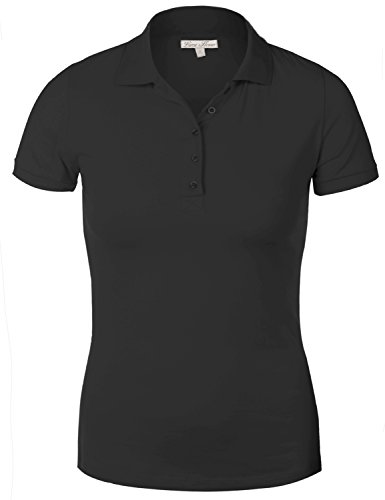 Luna Flower Women's Solid Basic Cotton Slim Fit Short Sleeve Plain Polo Shirts Black 1X