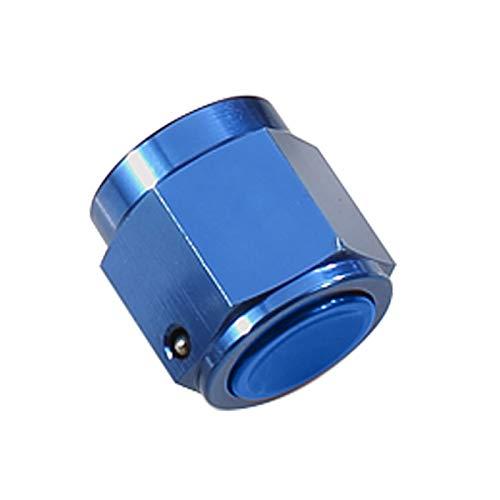 Aluminum Swivel Female -6AN AN6 Flare Cap For Hose Thread Hex Head Port Fitting, Blue