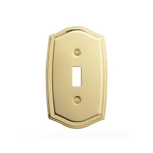 Baldwin Estate 4756.030.CD Colonial Design Single Toggle Wall Plate in Polished Brass, - Pull Brass Plate Baldwin