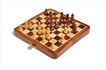"FOLDING WOODEN MAGNETIC Travel Chess Set - 5"" - by US Chess Federation"
