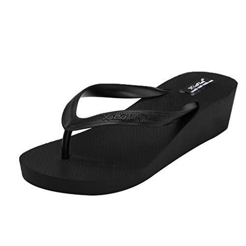 Cenglings Slippers, Women's Clip Toe Sandals High Heel Flip Flops Slip On Shallow Casual Beach Slipper Party Sandals Black