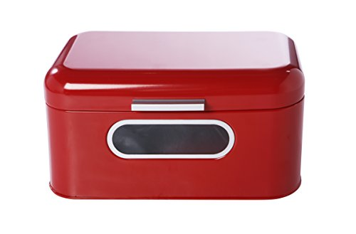 Bread Box for Kitchen Counter - Red Bread Bin, Retro Storage Container with Front Window, For Doughnuts, Pastries, Cookies - 12 x 7 x 6 Inches
