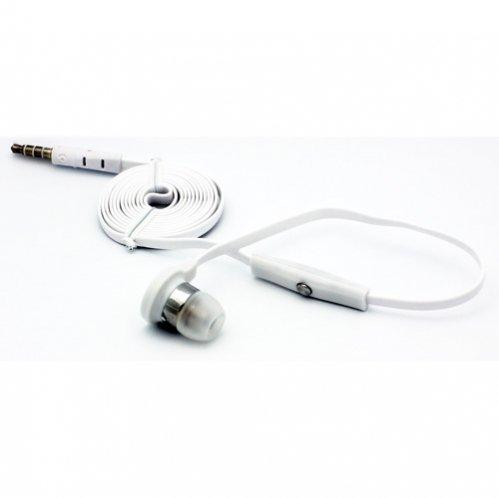 Flat Cable White Handsfree Mono Headset Single in-ear Earphone Earbud Microphone for T-Mobile Alcatel OneTouch Evolve, Alcatel OneTouch Fierce, HTC Amaze 4G, HTC Sensation 4G, HTC G2, HTC HD2
