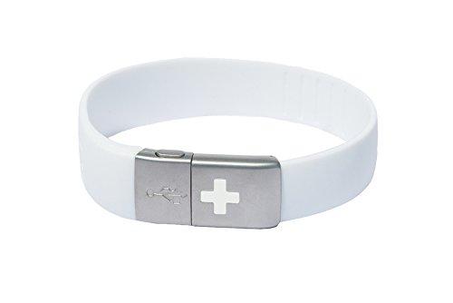 Medical Id Band (EPIC-id - USB EMERGENCY ID BAND, White)