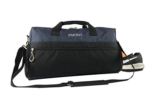 SMONT Sports Gym Bag with Wet Pocket Shoes Compartment Travel Duffel Bag for Men and Women Blue