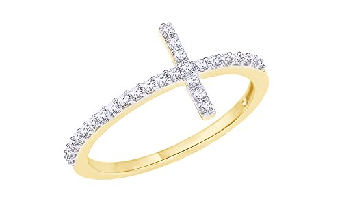 (AFFY White Natural Diamond Cross Ring in 10K Solid Yellow Gold (0.2 Ct))