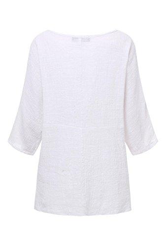 Camicia La Donne Dimensioni White A Maniche E Lunghe al Lino di yulinge Cotone Massimo Le E 5gwzqq8x