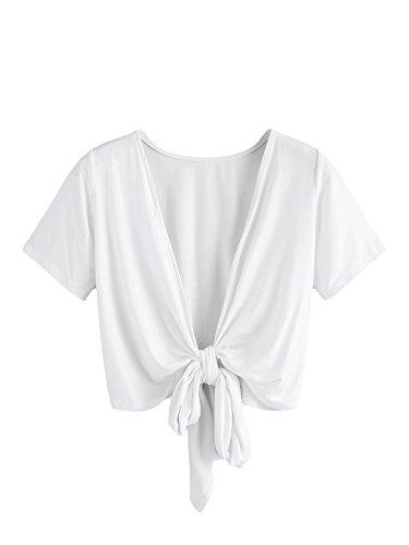 Floerns Women's Summer Sexy Open Front Bow Tie Crop T Shirt Top White (Short Sleeve Open Tie)