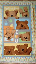 Studio E Peek-A-Boo Cotton 2 Ply Flannel Teddy Bears Fabric