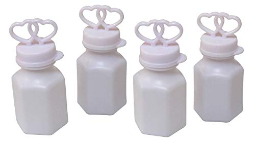 100 WHITE DOUBLE HEART WEDDING BUBBLES RETAIL ()