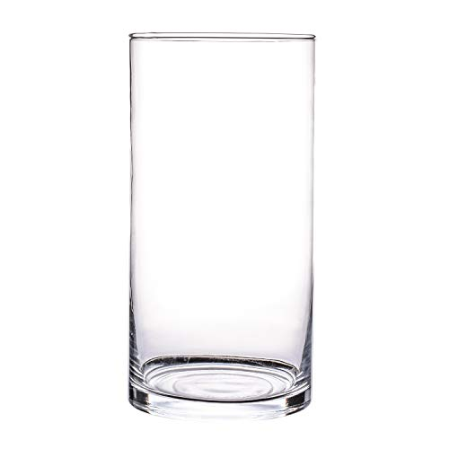 Glass Contemporary Vases - Clear Cylinder Glass Vase, Water Vase for Flowers and Plants Decorative Centerpiece for Home or Wedding(4.7