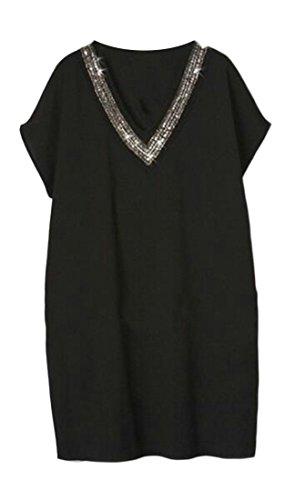 Cruiize Des Femmes De Manches Lâche Strass V-cou Court T-shirts Robe Midi Noir