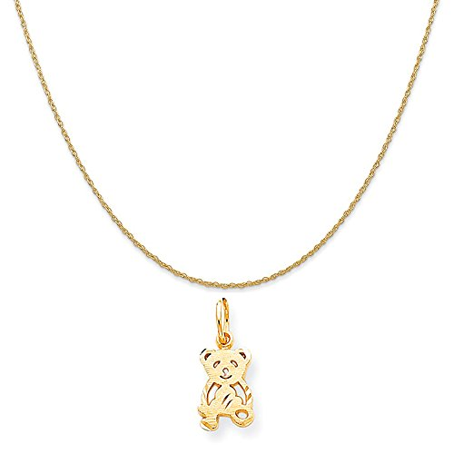 Yellow Gold Teddy Bear Charm - Mireval 10k Yellow Gold Teddy Bear Charm on a 14K Yellow Gold Rope Chain Necklace, 18