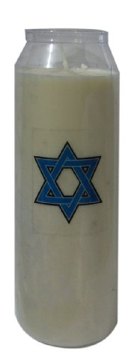 Yizkor Yahrzeit Memorial Candle 9 Day Candle Star of David for Yom Kipur