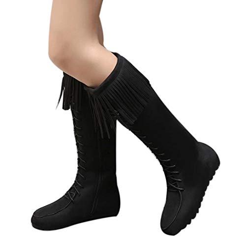 Women Tassel Long Boots, Familizo Fashion Lace Up Women Knee Long Boots Ladies Fringe Flat Heels Long Boots Tassel Knee High Boot for Party Home Garden Vacation Black