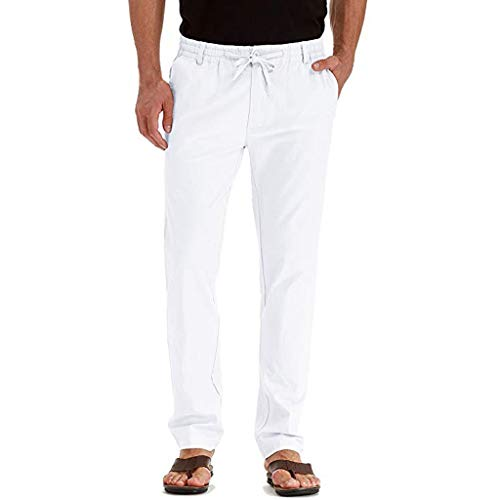 Donci Pants Men's Linen-Cotton Herringbone-Textured Pant White