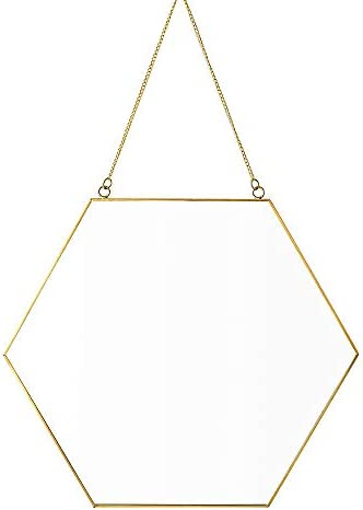 Dahey Hanging Wall Mirror Decor Small Gold Hexagon Mirrors for Home Bathroom Bedroom Living Room,11.81 X10.24
