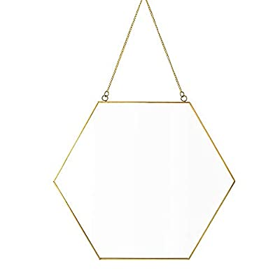 "Dahey Hanging Wall Mirror Decor Small Gold Hexagon Mirrors for Home Bathroom Bedroom Living Room,11.81""X10.24"" - Nordic style hexagon hanging mirror, the gentle and luxurious of the design, providing both utility and decorative elements. Material: Metal and mirror. The metal makes the mirror more elegant and the reverse side in velvet, feel soft and avoid getting hurt when you using it. Minimalist Design: Geometric shape decor mirror with golden edge, which make your home with high style decorative. - mirrors-bedroom-decor, bedroom-decor, bedroom - 31n9J%2BAkXfL. SS400  -"