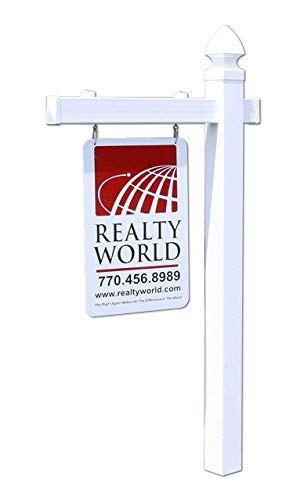 Estate Sign - 4EVER Vinyl PVC Real Estate Sign Post - White (Single)