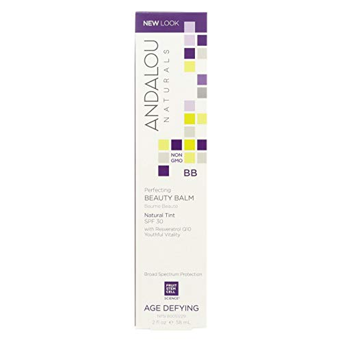Andalou Naturals Skin Perfecting Beauty Balm - Natural Tint SPF 30 - 2 oz - Gluten Free - Complements most skin tones - Visible Age Defying results.