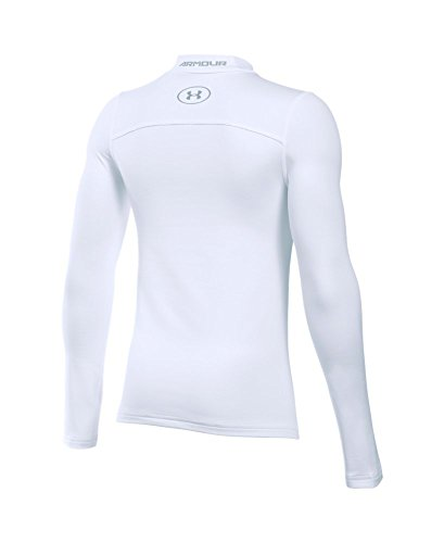 Under Armour Boys' ColdGear Armour Mock, White (100)/Steel, Youth Small by Under Armour (Image #1)