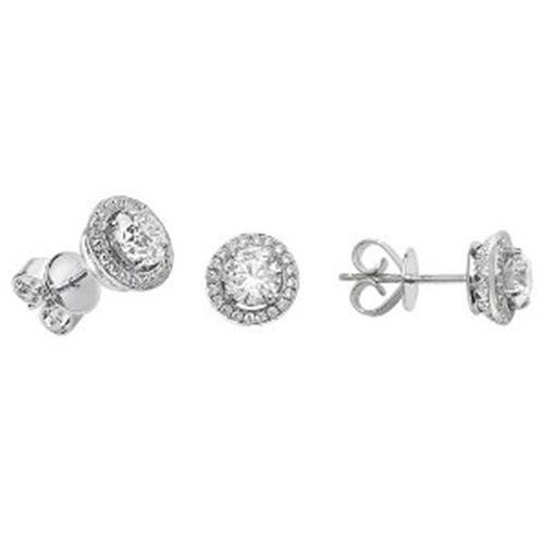 Halo Boucles d'oreilles diamant or blanc 18 carats 2/Dia 1 + 0.24 ct