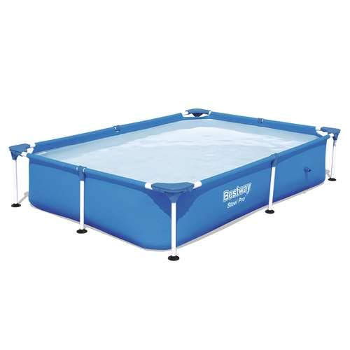 Bestway Steel Pro 87 x 59 x 17 Inch Rectangular Frame Above Ground Swimming Pool