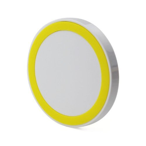 Geerkercity® Small Qi Enabled Wireless Charger Inductive Charging Pad Station for All Qi Standard Compatible Devices Including Nokia, Google, Nexus, LG, HTC Smartphones and iPhone 5s 4s 6 6Plus Samsung Galaxy S5 S4 S3 NOTE 2 NOTE 3 NOTE 4 with Receivers (AC Adapter Excluded. Micro USB Cable Included) (Yellow)