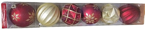 Frosted Old Fashion Set (Decorative Shatter-Resistant 6 Piece Christmas Ornaments, Red/Gold)
