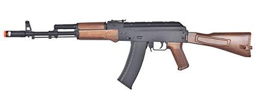 Well Tactical AK-47 CQB AEG Semi/Full Auto Electric Airsoft Rifle Gun High Capacity Magazine FPS 290 (Black/Wood) ()