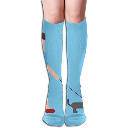 (Socks Man Taking Dog for Walk Inspiring Womens Stocking Holiday Sock Clearance for Girls)