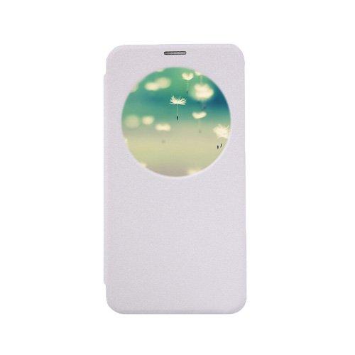 E8Q Ronda única ventana Diseño de primera calidad ultrafinos Funda de cuero sintético para Asus ZE550ML Blanco