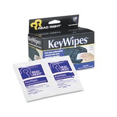 - Read Right KeyWipes Keyboard & Hand Cleaner Wet Wipes, 5 x 6 7/8, 18/Box