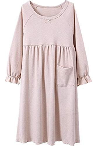 HOYMN Girls' Nightgowns & Sleep Shirts Cotton Sleepwear for Toddler 2-11 Years (9-11 Years, lotu Pure Beige) -