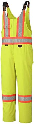 Pioneer 7-Pocket CSA High Visibility Safety Work Overall Bib Pants, Adjustable Elastic Suspenders