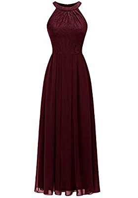 Dressystar Women's Halter Long Bridesmaid Dress Prom Dress Formal Wedding Party Gown