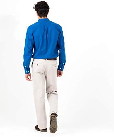 MO Pantalones Hombre - Chinos Regular Fit - En Azul Oscuro y Beige