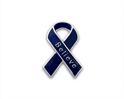 Child Abuse Awareness Dark Blue Awareness Small Believe Ribbon Pin (1 Pin - Retail) Child Abuse Blue Ribbons