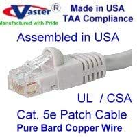 Cat5e Ethernet Patch Cable 17 Ft RJ45 Computer Networking Cord Made in USA, Purple